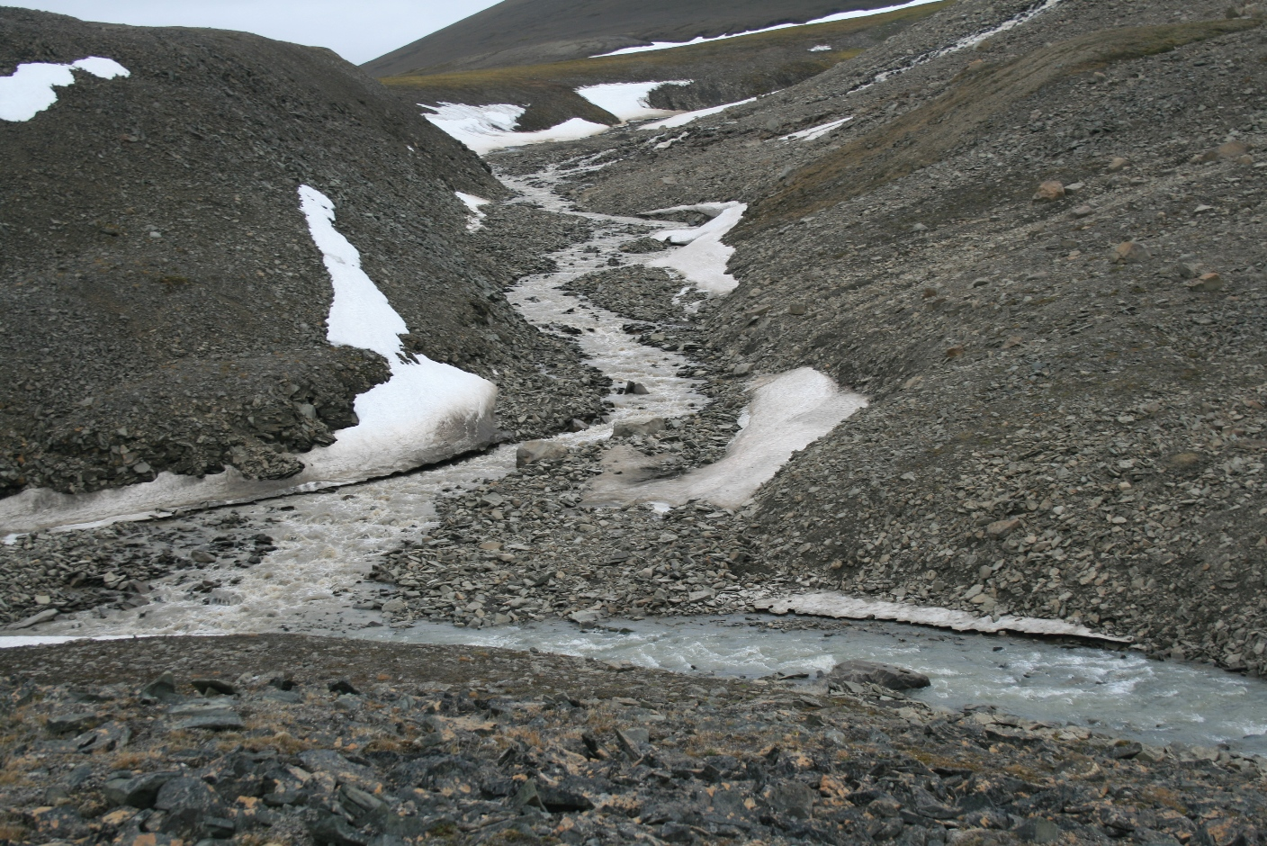 Confluence of 'glaciated' and 'non-glaciated water', note the colour difference!