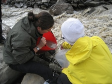 Alix and Kjetil collecting a water sample from Dryadbreen.