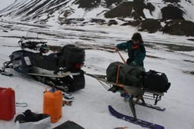 Preparing to go into the fieldsite on 25 May with the help of Liam's snowmobile.